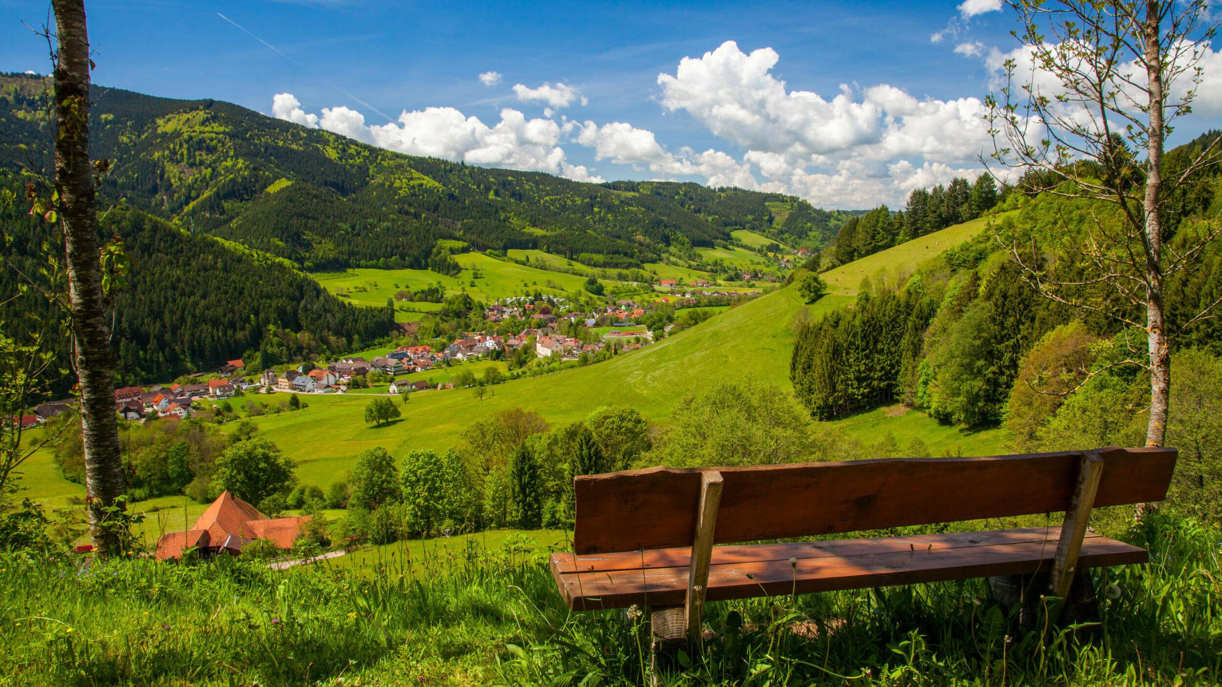 Eine urige Holzbank mit Blick ins Tal